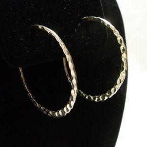 Sterling Silver Hammered 7/8 Hoop Earrings